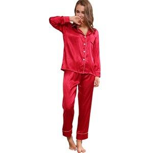 Image 5 - Pyjama en soie à manches longues pour hommes, ensemble vêtement de luxe mince, soie glacée, pour la maison
