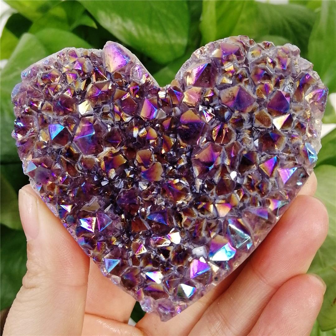 1 шт. натуральный кварцевый кластер в форме сердца, лечебный образец радуги, качество ауры, камень с драгоценным камнем, украшение для дома