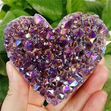 1 pçs natural coração-em forma de ametista cru cristal de quartzo cluster cura espécime arco-íris aura qualidade pedra preciosa decoração da casa