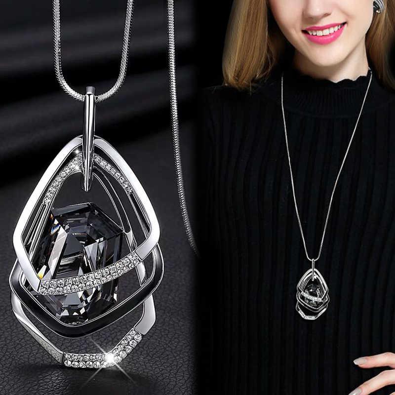 Panjang Kalung & Liontin untuk Wanita Maxi Collier Femme Geometris Rantai Kalung Pernyataan Colar Aksesoris Perhiasan 2020