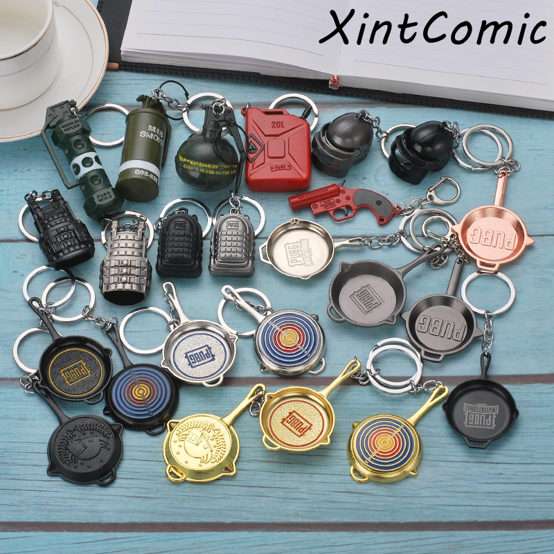 Game <font><b>PUBG</b></font> Keychain Cosplay Props Alloy <font><b>Level</b></font> <font><b>3</b></font> <font><b>Helmet</b></font> Armor Plane Pan Model Keyring PLAYERUNKNOWNS BATTLEGROUNDS Christmas image