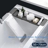 Prateleira de banho sobre bandeja de banho de plástico banheira caddy rack de banho banheira placa ajustável bandeja telefone titular acessórios do banheiro|Banheiras infláveis e portáteis| |  -