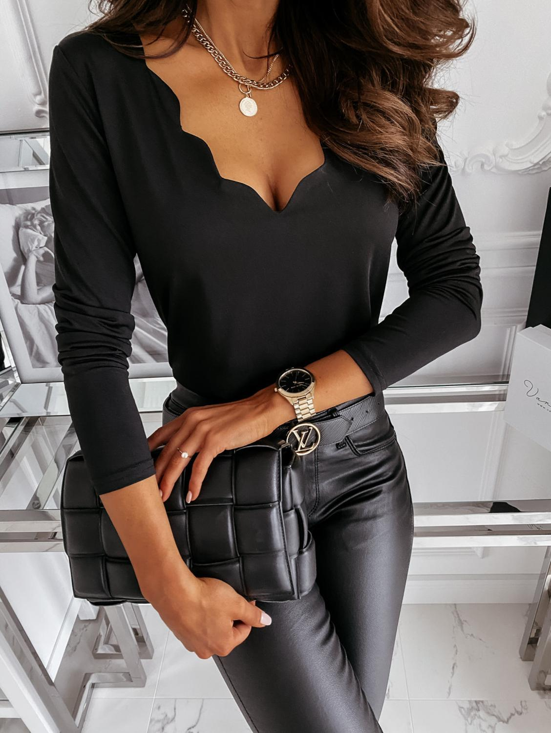 Sexy V Neck Shirt Tops Solid Color Autumn Winter Female Fashion Simple Style Slimming White Khaki Black Bottoming Office Blouse|Blouses & Shirts| - AliExpress