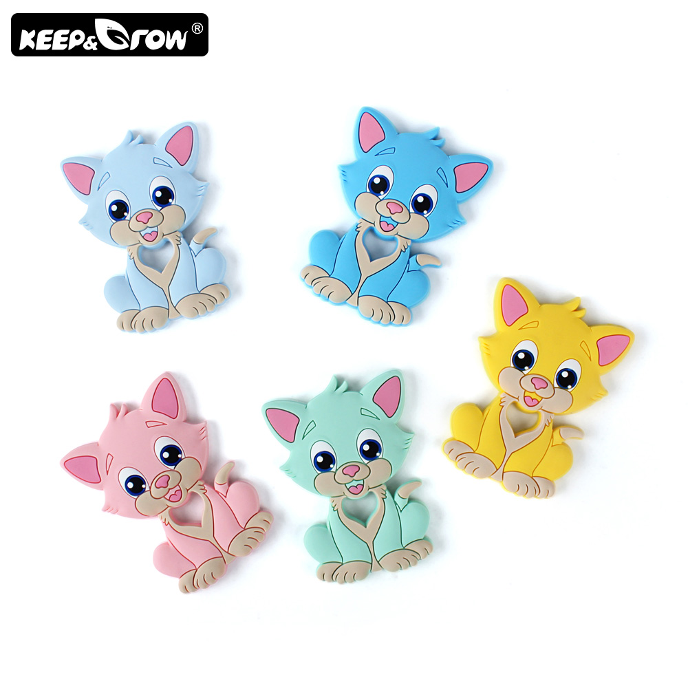Keep&Grow 1pc Cartoon Baby Teethers Rodent Cat Silicone Teether DIY Teething Necklace Pacifier Clip Silicone Beads Baby Products