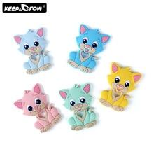 Keep&Grow 1pc Cartoon Baby Teethers Rodent Cat Silicone Teether DIY Teething Nec
