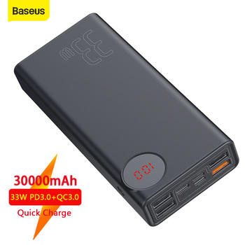 Baseus 30000mah Power Bank External Battery Quick Charge 3.0 QC USB Type-C PD Fast Charging For iP For Samsung Powerbank Charge внешний аккумулятор baseus power bank mulight quick charge 30000mah black ppmy 01
