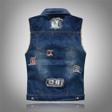 Mode Mannen Moto Biker Mouwloze Denim Jasje Gat Ripped Kwasten Spliced Vest Jean Jas Plus Size 4XL Slim Fit Vesten(China)