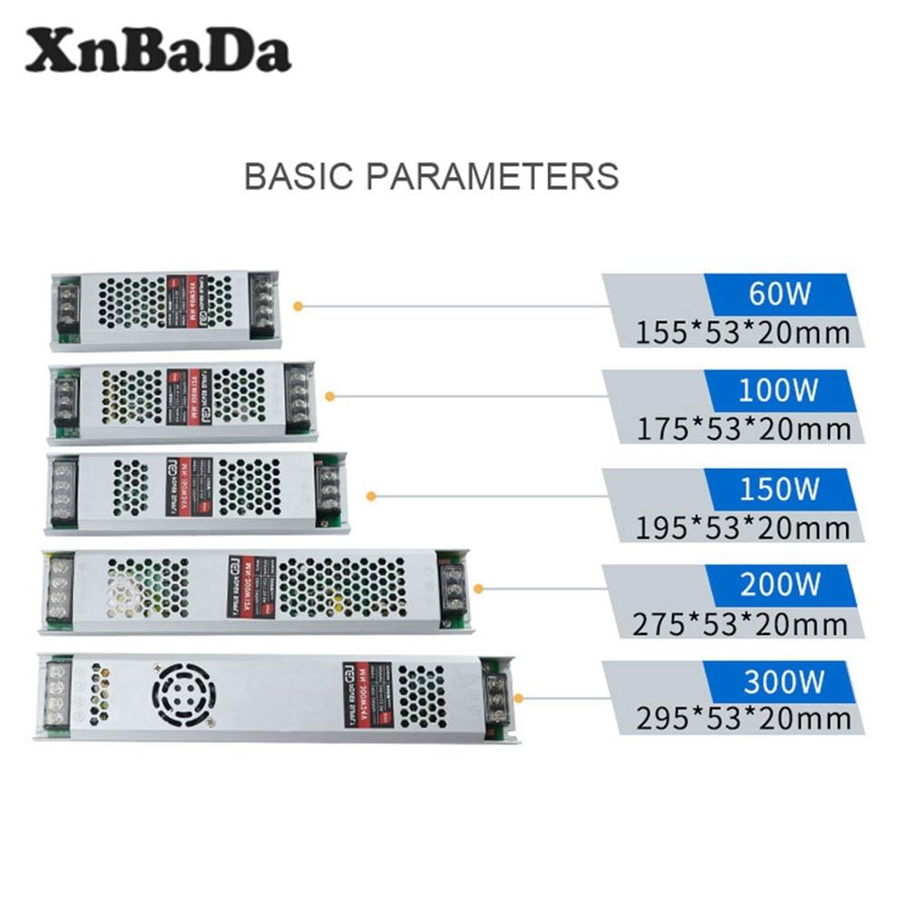 DC12V/24V Ultra Dünne LED Power Versorgung Beleuchtung Transformatoren Adapter Schalter 60W 100W 150W 200W 300W AC190-240V Für LED Streifen