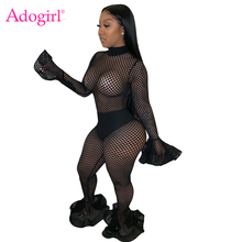 Adogirl 2019 Autumn Hollow Out Mesh Jumpsuit Fishnet Turtleneck Flare Sleeve Fashion Sexy Romper Foot Cut Pants Club Overalls