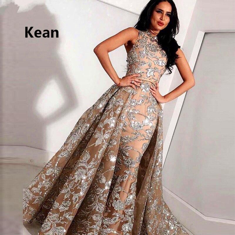2019 Muslim Evening Dresses Mermaid Lace Detachable Train Islamic Dubai Saudi Arabic Long Elegant Evening Gown Prom Dress