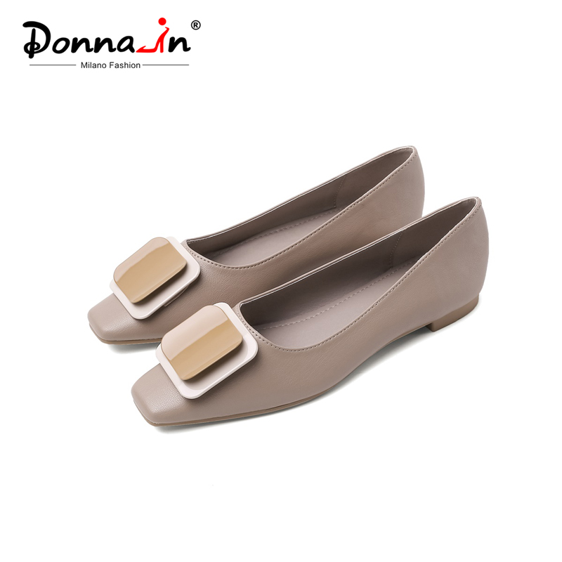Donna-in Genuine Leather Slip-on Ballet Flats Shoes Women Square Toe Moccasins Shallow Ballerina Shoes Spring Metal Decoration