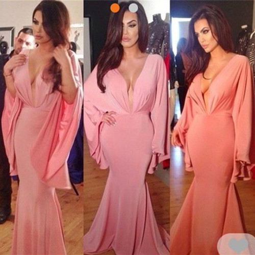 Deep V Neck Pink Long Sleeve Robe De Soiree Evening Party Gown Robe De Mariee Elegant Mermaid 2018 Mother Of The Bride Dresses