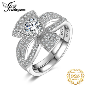 Image 1 - Jewelrypalaceラウンド 1ctキュービックジルコニアフローラリボンちょう結びスプ婚約リングセット 925 スターリングシルバージュエリーファッション