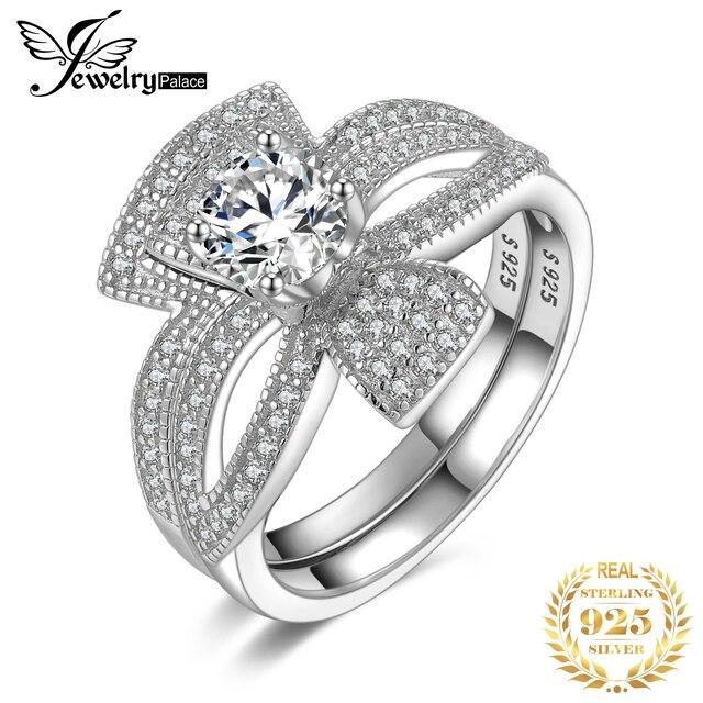 Jewelrypalaceラウンド 1ctキュービックジルコニアフローラリボンちょう結びスプ婚約リングセット 925 スターリングシルバージュエリーファッション