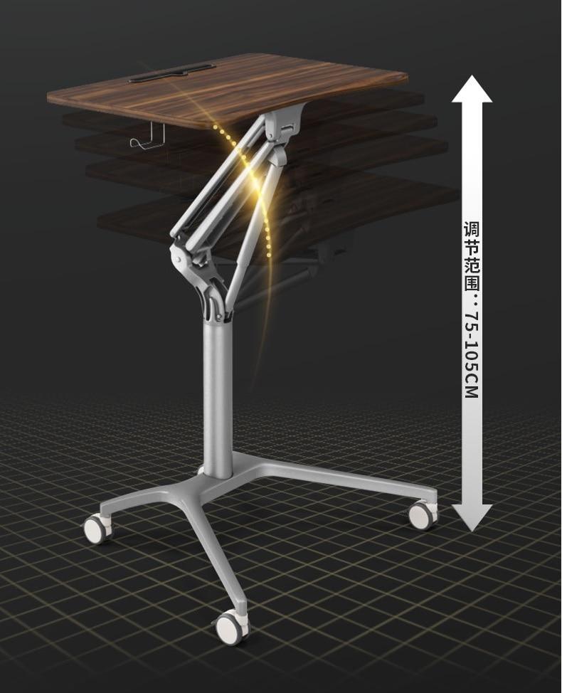 Pneumatic Lifting Desk 75-100cm High/ MDF Desktop 71x47cm Walnut Veneer /  Sit-To-Stand Rolling Workstation