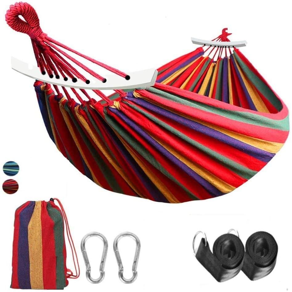 Портативный садовый гамак, подвесная кровать, качели из холщовой ткани в полоску, для спорта, путешествий, для двух человек