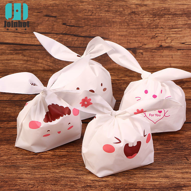 10 Pcs Plastic Candy Bags Cute Rabbit Ear Cookies Bag For Wedding Home Party Food Packaging Kids Birthday Cartoon Gift Packaging