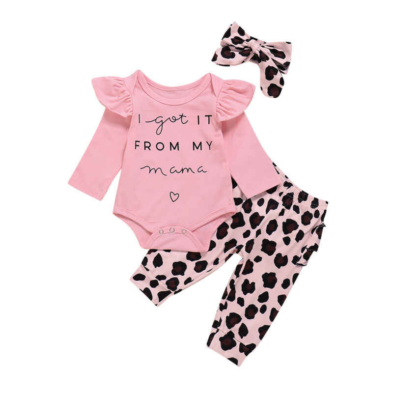 2020 yeni yıl giysileri yenidoğan bebek kız giysileri fırfırlı kıyafet leopar pantolon tayt kıyafet sonbahar seti 0-18 ay