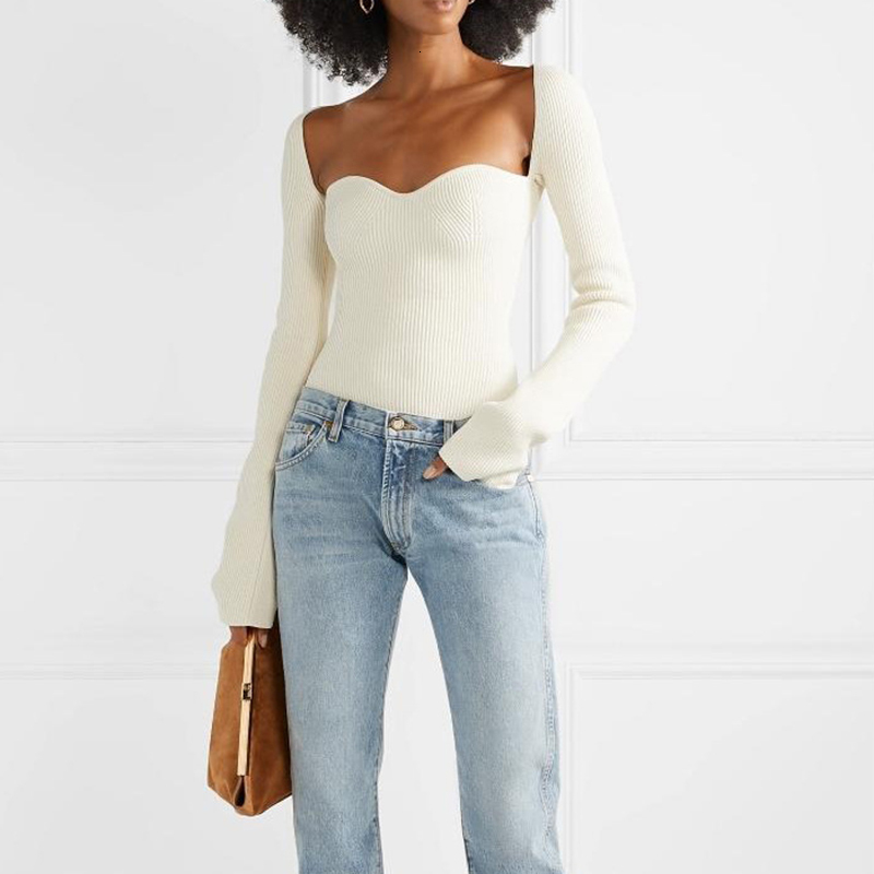 Korea White Side Split Knitted Women's Sweater Square Collar Long Sleeve Asymmetric Sweaters Female Fashion New Clothes2020 W096