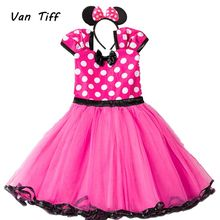Baby Girl Cute Minnie Mouse Dress Clothing Falda Toddler Polka Kid Summer Party Tulle Dress Mickey Clothes Child Frock(China)