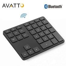 Avatto teclado numérico sem fio de alumínio, teclado digital para windows, ios, mac os, liga de alumínio com 35 teclas tablet, android, laptop, pc