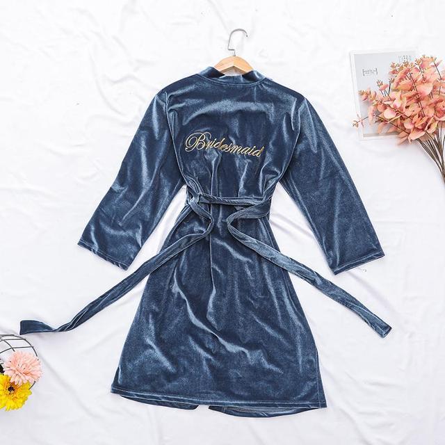 Embroidery Bride Bridesmaid Wedding Robe Solid Velvet Warm Lady Kimono Gown Sleepwear Casual Bathrobe Gown Nightdress Homewear