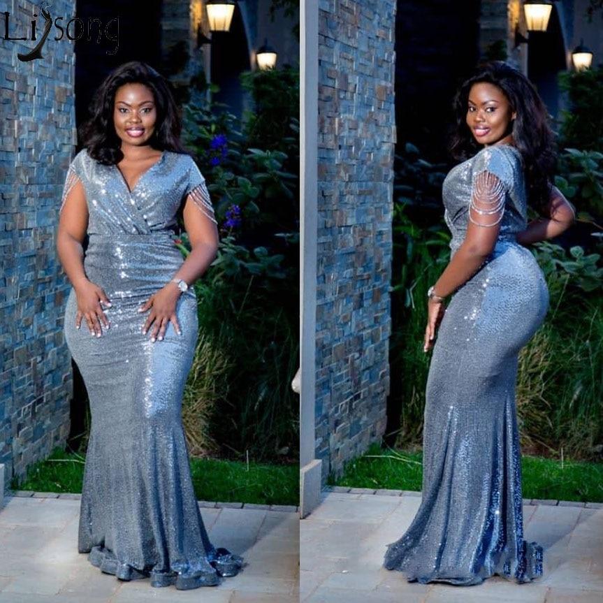 Plus Size African Sequins Evening Dress Mermaid V Neck Short Sleeves Nigeria Prom Dresses Formal Gown With Tassel Abendkleider