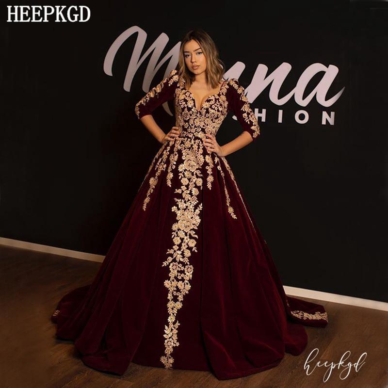 Luxury Burgundy Velvet Arabic Evening Dress Long Sleeves V Neck Golden Appliques Dubai Prom Gowns New Design Robe De Soiree