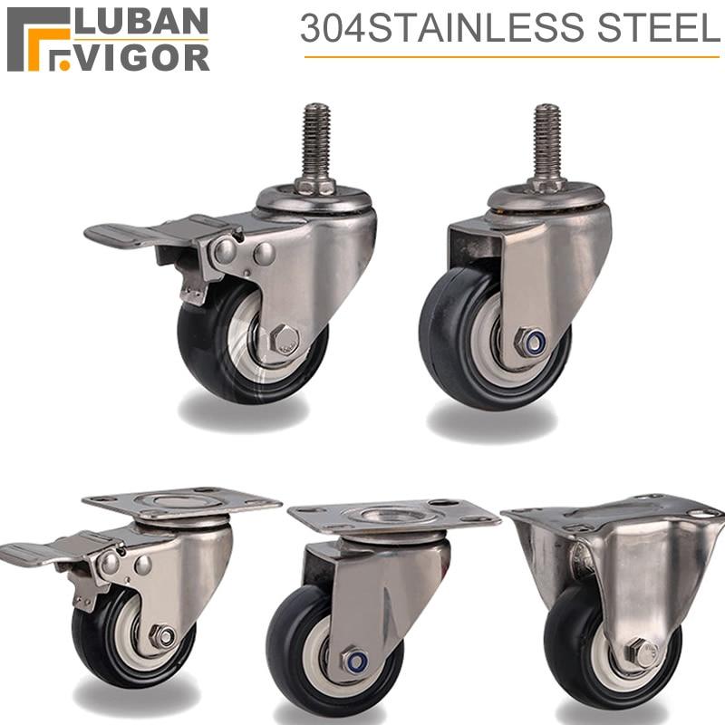 2 дюймовые ролики/колеса с 304 рамой из нержавеющей стали, полиуретановым протектором, бесшумным, без ржавчины, для влажной среды, промышленны...
