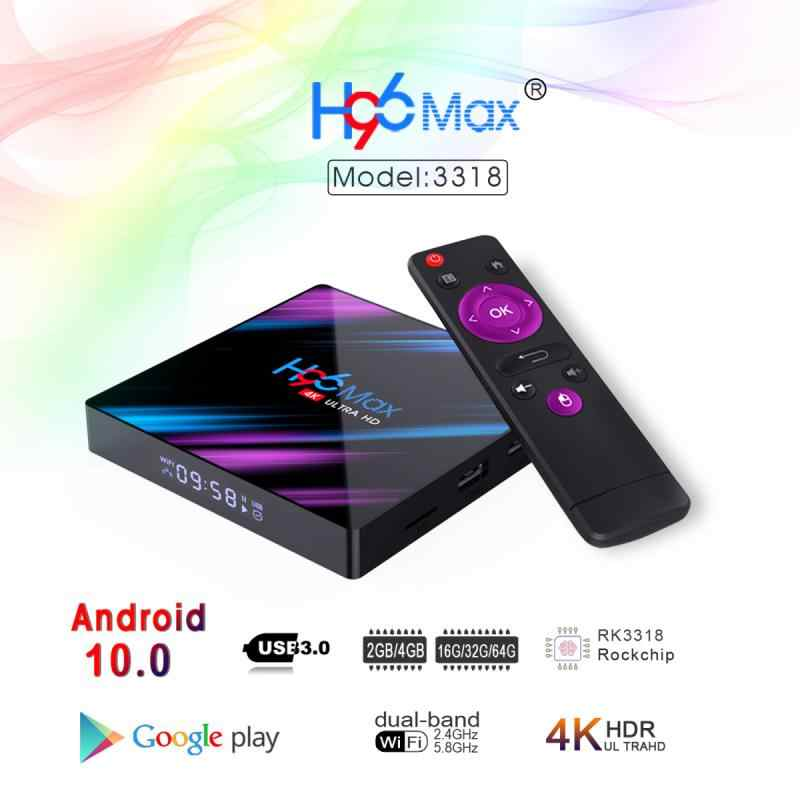 H96 MAXกล่องสมาร์ททีวีAndroid 10.0 4G 16/32/64GB Quad Core 4K WiFi media Player Android 10 Dual WIFIเครือข่ายSet-Top Box