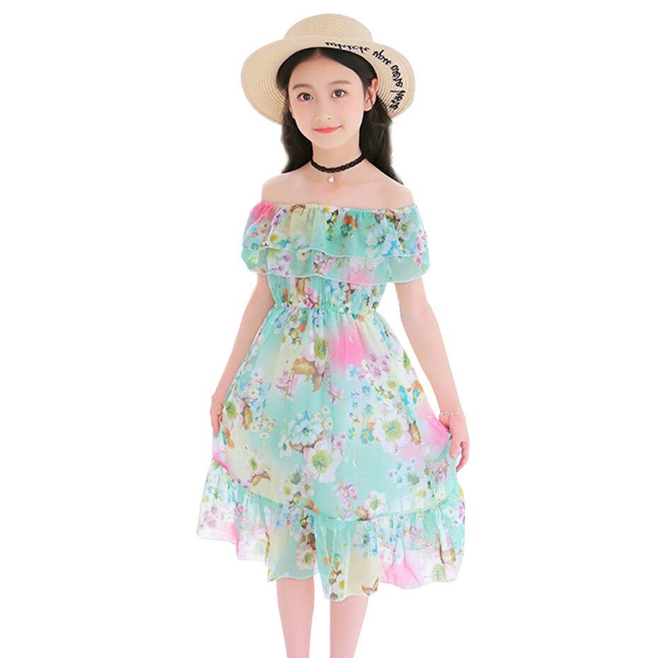 Robe de plage pour filles, motif Floral, Style bohémien, Costume pour adolescentes de 6-8-10-12-14
