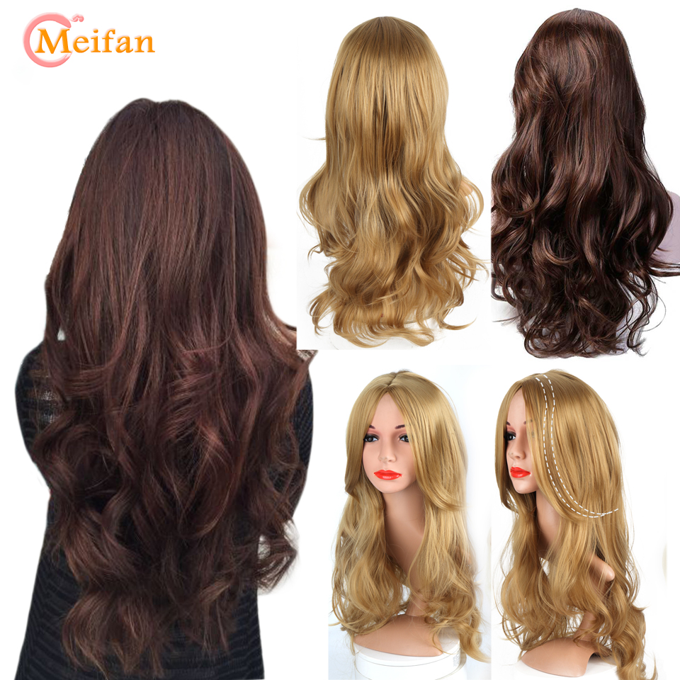 MEIFAN Long Brown Wavy Wigs For Women Black Female Daily Party Heat Resistant Synthetic Natural Cosplay False Hair