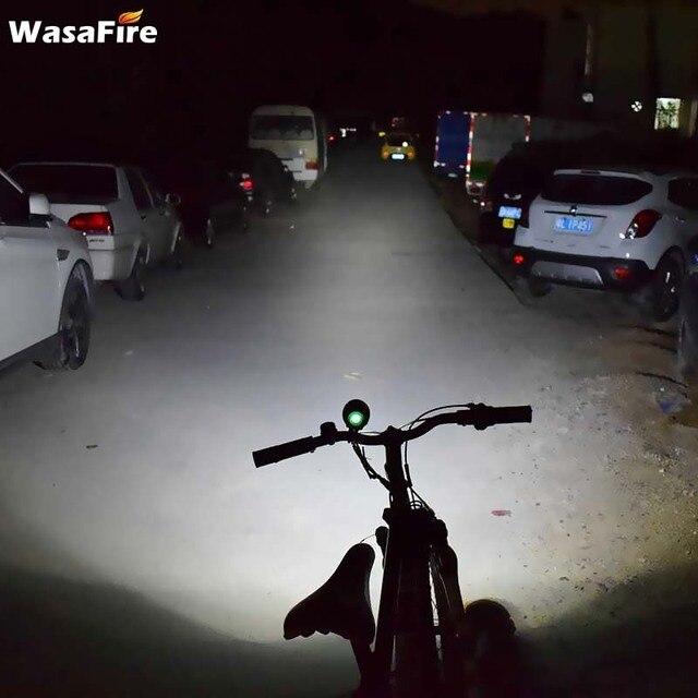 Wasafire 12 * t6 led 2 em 1 bicicleta farol 20000lm luz da frente lâmpada cabeça ciclismo lanterna + 18650 bateria carregador 5