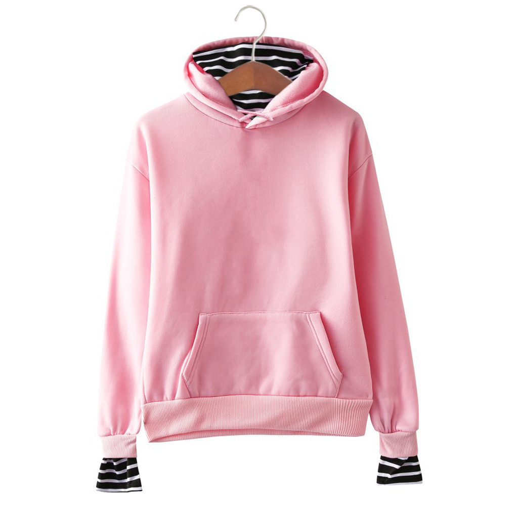 2020 Women's Coat Women's Solid Color Casual Striped Stitching Fake Two-Piece Hooded Sweatshirt Female Clothing Drop Shipping