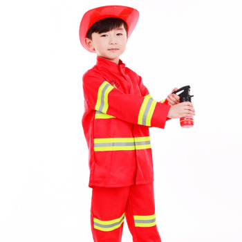 Umorden Kids Firefighter Cosplay Little Fireman Firemen Costume Uniform for Boy Child Halloween Carnival Party Costumes umorden child kids wonderland alice costume for girls teen girl maid lolita cosplay dress halloween carnival party costumes