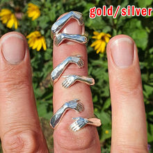 Fashion 925 sterling silver/18K gold finger rings for women hands hug shaped Trendy fine Jewelry open Adjustable Antique Rings