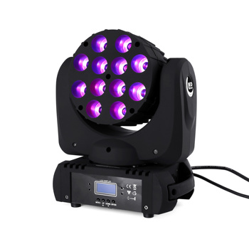 Светодиодная лампа 12x12 Вт с движущейся головкой, светодиодная сценическая лампа rgbw RGBW 4в1, четырехъядерный светодиодный светильник, улучшен...