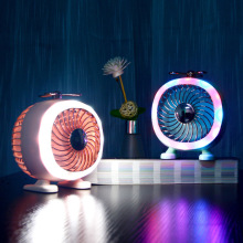 Night Light Creative LED Table Lamp Mini Electric Fan USB Rechargeable Bedside Lamp 2 Levels DimmableDesktop Decorative Lamp