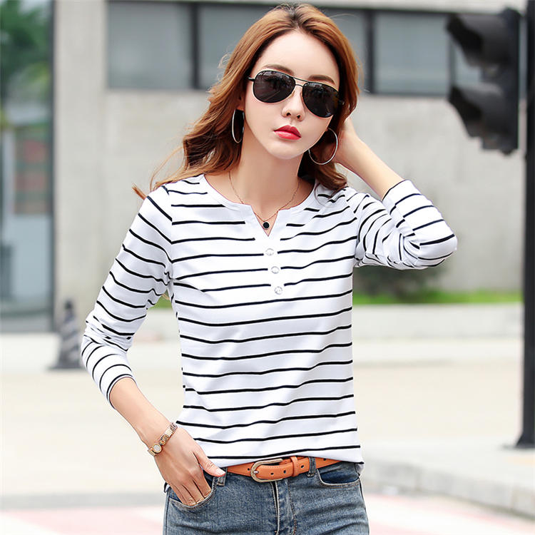 H667d63e472ee4e45931a4ab218cf8252K - Women T-Shirt Cotton Short Long Sleeve Lady T Shirt Striped Summer Spring Autumn Female Blusa White Plus Size Fashion Top Tee T0