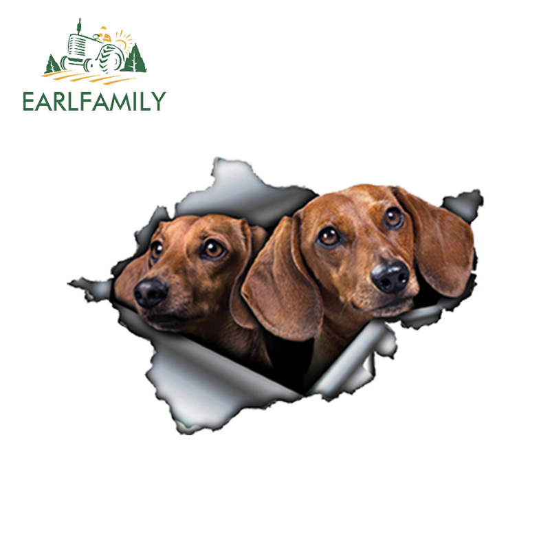 EARLFAMILY 13cm X 8.6cm 3D Tan Dachshund Car Sticker Torn Metal Decal Reflective Stickers Waterproof Car Styling Pet Dog Decals