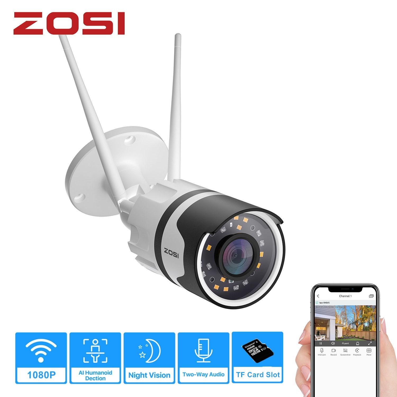 ZOSI 1080p Spotlight Outdoor WiFi Camera H.265 Waterproof AI Human Detection Color Night vision 2-Way Audio Wireless IP Cam