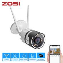 ZOSI 1080p Scheinwerfer Im Freien WiFi Kamera H.265 Wasserdichte AI Menschlichen Erkennung Farbe nachtsicht 2-Way Audio Wireless IP Cam