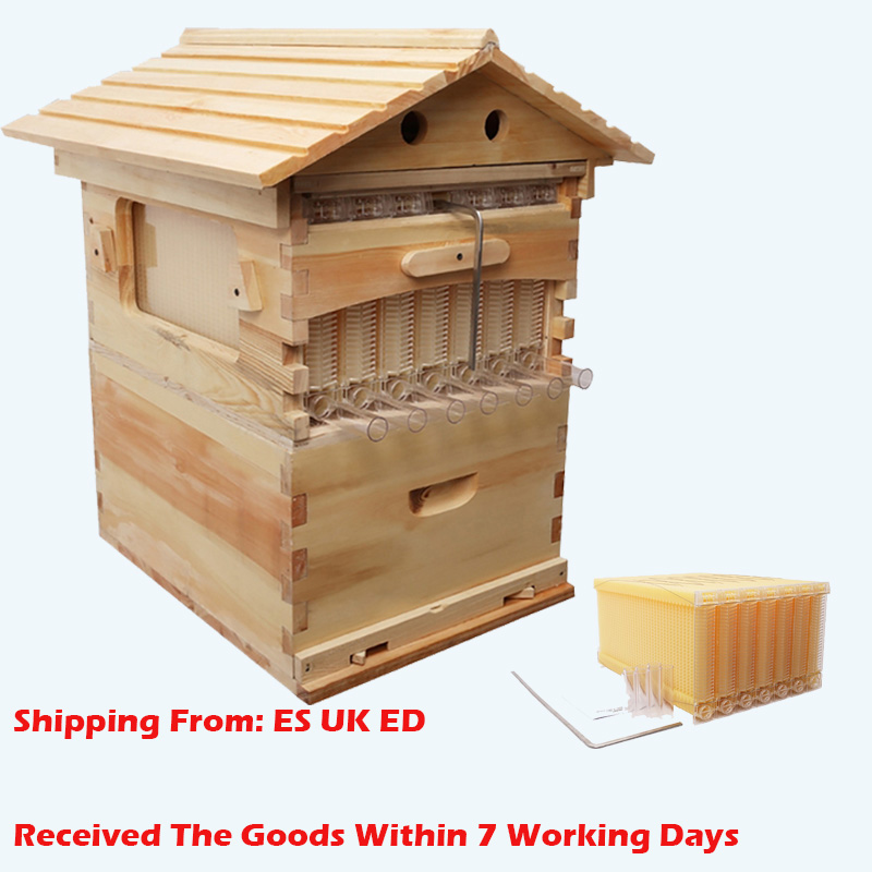 Wooden Bees Box Automatic Wooden Bee Nest Beekeeping Equipment Beekeeper Tool For Bee Hive Supply German Warehouse Deliver