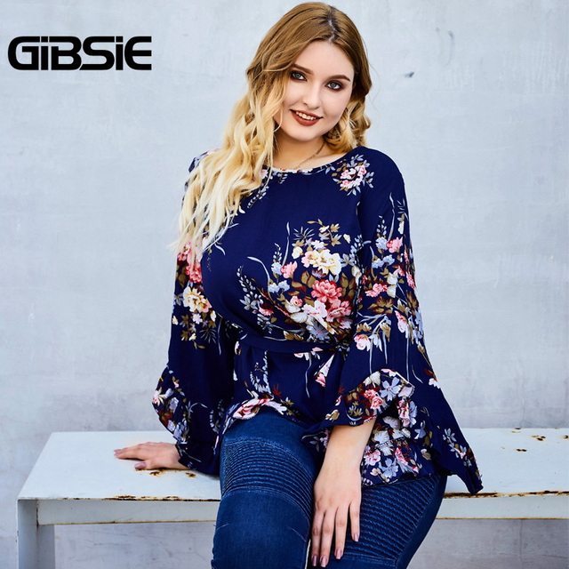 GIBSIE Floral Print Belted Women Tops and Blouses Plus Size Autumn Ladies Round Neck Flare Long Sleeve Holiday Blouse 2019 3