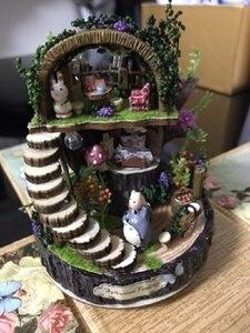 Image 3 - יער עץ Totoro DIY בובת בית עיצוב הבית בעבודת יד קריקטורה ערכת מיניאטורות בית הרכבת צעצועי בובות מתנת צעצוע