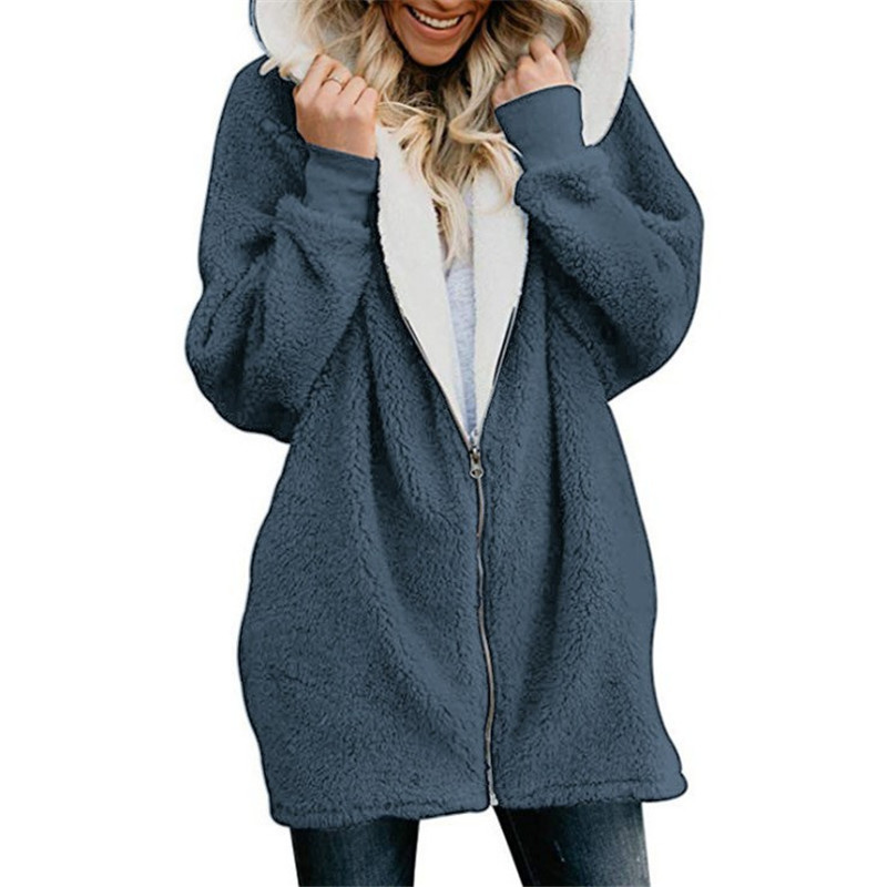 Hooded Parkas Fleece Fluffy Zipper Warm Padded Jacket Women Casual Solid Winter Coat Plus Size 5XL Female Cozy Oversized Outwear