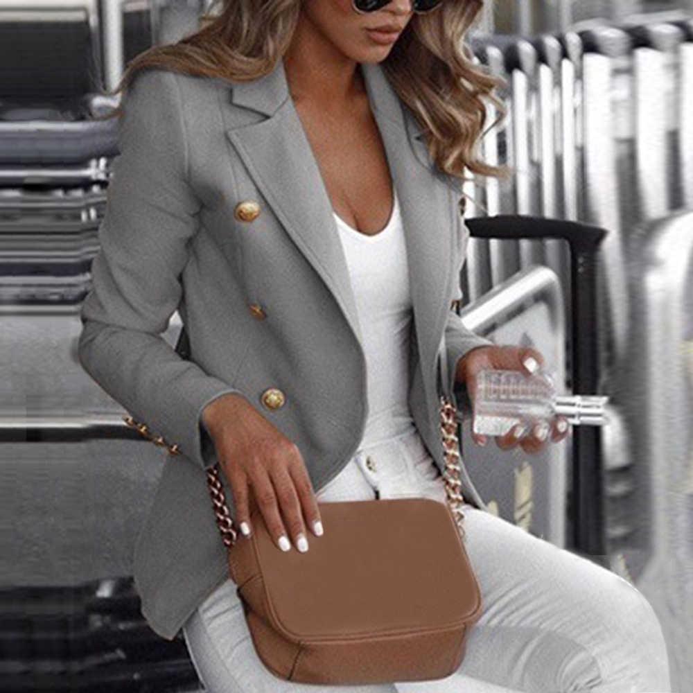 MoneRffi 2019 Fashion Women's Jacket Casual Suit Coat Feminino Business Long Sleeve Jacket Outwear Ladies Slim