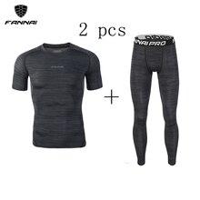Mens 2 Pcs Compression Running Sets Shirts Basketball Jersey Jogging Football Soccer Training Short Skinny Tights Leggings