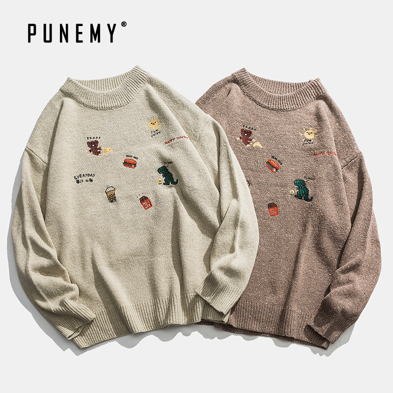 Men Pullover Sweaters Retro Embroidery Cartoon Pattern Acrylic Oversize Hip Hop Streetwear Harajuku Autumn New Men's Sweaters