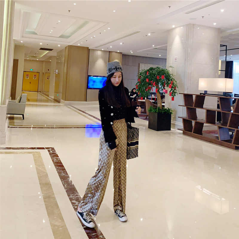 Velours drapé pantalons amples femmes automne et hiver pantalon coupe ample 2019 printemps nouveau Style coupe droite élastique taille décontracté P